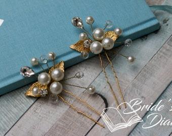 1pcs Bridal hair pin, Pearl Hair pins, gold hair pins with leaves and pearls