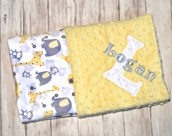 Baby Blanket, Monogrammed Minky, Gray and Yellow, Elephants and Giraffes, Neutral Blanket with name Newborn Gift, Personalized Blanket