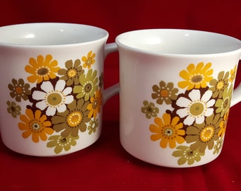 Pair of vintage chic flower pattern coffee or tea mugs made in england