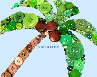 Button Art Palm Tree Buttons and Swarovski Flatback Crystal Rhinestones Vintage Buttons Tropical Art