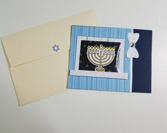 Hanukkiah (Hanukkah Menorah) in Window Card w/matching envelope
