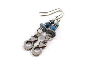 Handmade Pewter and Turquoise Earrings, Pewter Earrings, Wire Earrings, Boho Earrings, Artisan Earrings, Industrial Earrings, Pewter, AE109