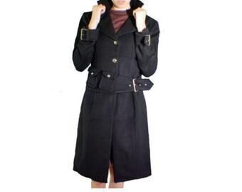 Women's black wool and cashmere waist coat