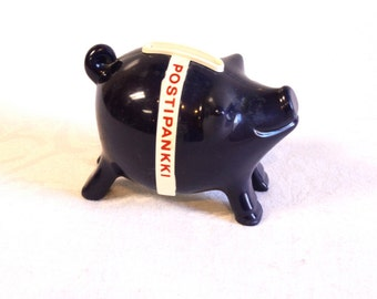 Vintage Piggy Bank - 1980s Blue Retro Finnish Piggy Bank by Postipankki