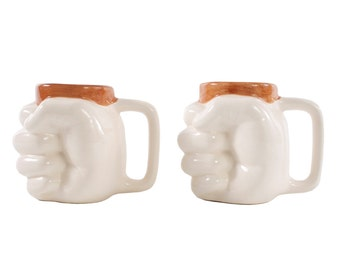 Two Fisted Mugs - Set of Two - Two Fisted Drinking - Unusual Coffee Mugs