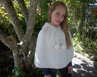 Poncho hooded girl 6/8 years