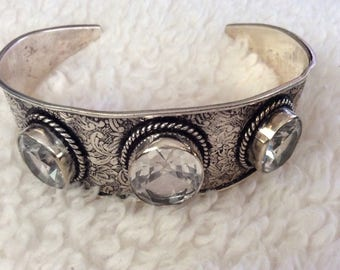 Sterling chased antiqued Gothic Cuff Bracelet
