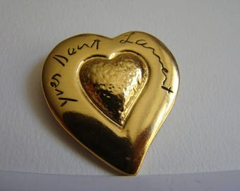 YSL Yves Saint Laurent Heart Brooch with its original red dustbag
