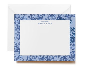 Personalized Stationery - Blue Toile Floral Flat Cards & Envelopes - Set of 12
