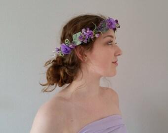Flower crown Purple silk Wedding hair accessories Mauve floral crown Lilac Bridal hair wreath Boho flower garland Flower girl hair vine