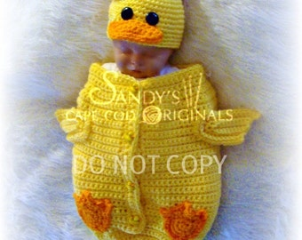 Ducky Cocoon and Hat Set Crochet Pattern PDF 558