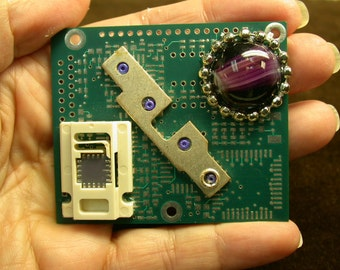 RECYCLED CIRCUIT BOARD Geekery Magnet  Vintage Purple Cabochon