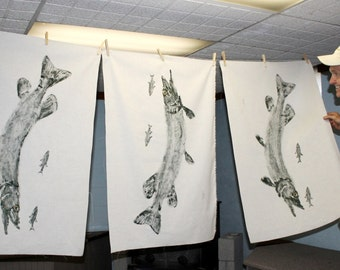 ORIGINAL Northern Pike and minnows GYOTAKU Fish Rubbing Art Lake House Decor on Best premium 40X25 Muslin