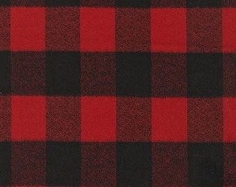 Mammoth Flannel Red Buffalo Check, Robert Kaufman, Red Buffalo Plaid, Red Cotton Flannel, Quilt Fabric, Christmas Decor, Fabric By the Yard