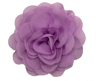 "3"" Rose Chiffon Flower Head, Wholesale Chiffon Hair Flowers for Flower Headbands, Embellishment, Lot of 1, 2, 5 or 10, Lavender"