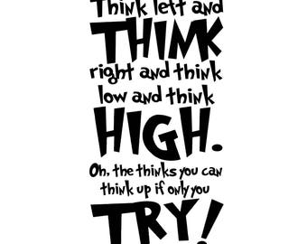 Dr. Seuss - Think left and think right - Vinyl Wall Decal