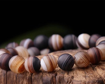 8mm-12mm Natural Frosted Stripe Agate Beads, Brown, Round, 15.4 Inch Strand (GA67)