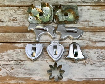 Vintage cookie cutters/ aluminum cookie cutters/ animals and shapes/ squirrel and rabbit/ heart and spade/ horse and dog