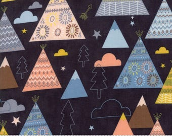 Moda Fabric - Wild and Free Midnight 35312 12 by Abi Hall - Quilt, Quilting, Crafts, Teepee