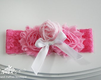 Pink Baby Headband, Baby Girl Headband, Newborn Headband, Flower Headband, Baby Photo Prop, Infant Headband, White Bow Headband