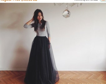 SALE Black tulle maxi skirt