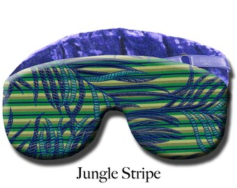 Adjustable Blackout Travel Sleep Eye Mask - Dual Sided Satin Brocade/Crushed Velvet – Optional Lavender Scent – Poly Fill - Jungle Stripe