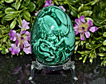 Natural Malachite Crystal Egg 70 MM, Natural Malachite Crystal, Egg Stand is Included