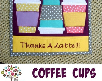 Coffee Cup Mini Quilt Mug Rug Pattern- Instant Download
