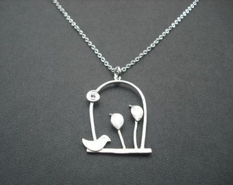 Sterling Silver Chain - little bird and leaves on a swing necklace