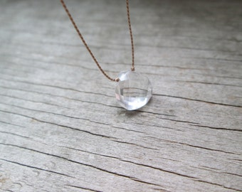 soulsilk CLEAR QUARTZ silk necklace April birthstone necklace hand knotted necklace clear crystal necklace