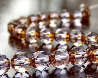 Alexandrite Picasso Czech Glass 6mm  Renaissance Bead : 25 pc Alexandrite 6mm Bead