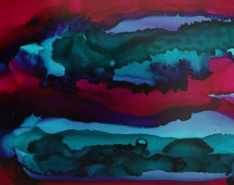 Sunrise Abstract Painting, Original Alcohol Ink Art, 'Dusk' - 5x7