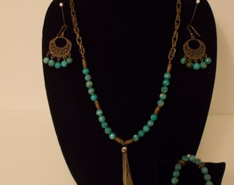 Faceted Turquoise w Antique Brass Tassel
