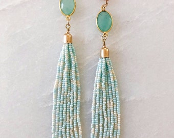 Mint Glass Beads Tassel Earrings