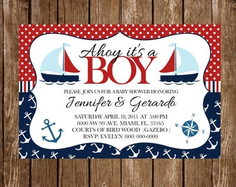 Nautical baby shower invistion