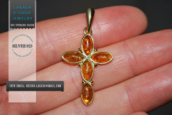 Cross Baltic Amber Sterling Silver Gold plated Jewelry Best Gift idea baptism birthday mother day Men Anniversary Woman Unisex Collection