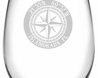 Custom Coordinates Compass Rose Stemless Wine Glasses S/4, Latitude Longitude Glassware