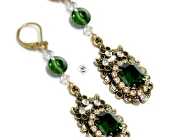 "Emerald green earrings,  boho, fashionable, regency, statement, vintage style, baroque, modern ""Hollywood"" - Free shipping"