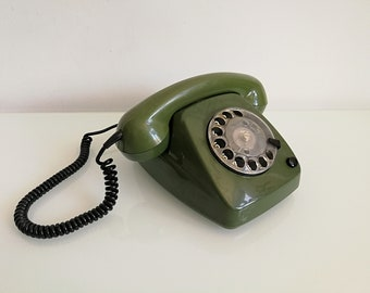 Vintage rotary phone - Olive Telephone - Green Vintage Telephone - Soviet Vintage Desk Phone