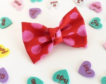 Fabric Bow, Baby Headband, Red Polka Dot Bow, Red Bow, Pink Polka Dots, Valentines Bow