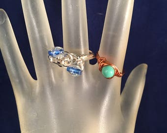 BOGO Copper and Turquoise Ring & Silver and Blue Ring, Two Wire Wrapped Rings Size 7.25, One of a Kind, Previously 30 Dollars ON SALE
