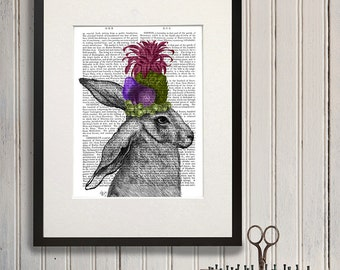 Rabbit and Pineapple - tropical wall art rabbit print funny animal wall art whimsical woodland animal art wildlife art print hare print lime