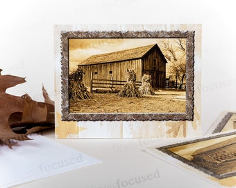 Who doesn't like harvest time on the farm? Pack of 3 b&w photograph NOTE CARDS Haystacks-1840s BARN-Autumn Blank-linen stock-with envelopes