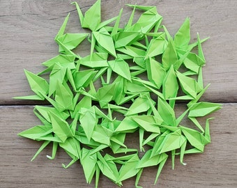 75 Tiny Green Paper Cranes for Weddings / Birthdays / Party Favors / Gifts