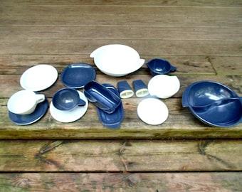 Boontonware. Dishes. Boonton. Melamine. Dish Set. 1950s. Melmac. Dinnerware. RV. Camper Decor. OurVintageHouse. vintage. 15 pc. Gray / White