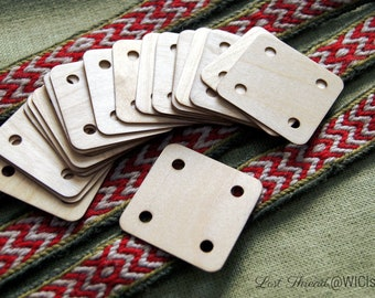 20 tablet weaving cards - ready for shipping - very thin 1mm / 5x5 cm - birch wood - made by artisan