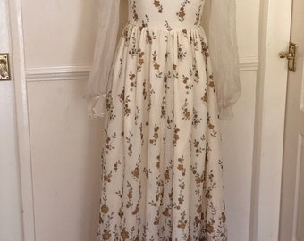 Vintage late 60s or early 70s handmade cream maxi dress UK 8-10