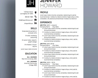 "MODERN RESUME TEMPLATE Format | Cv Template + Cover Letter | Professional Resume Designs | Microsoft Word | Fully Customizable (""Beachwood"")"