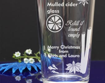 Personalised Engraved mulled Cider pint glass/Refill if found + your short message Christmas gift 65