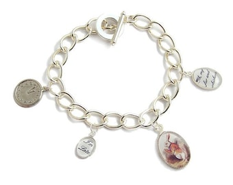 Alice in Wonderland bracelet The White late rabbit - oh my fur and whiskers charms